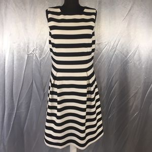 Eliza J womens striped pleated dress